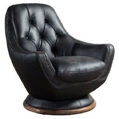 Vintage Distressed Black Real Leather Chesterfield ...