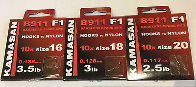 Perfect for Pellets 50 x NEW Kamasan B911 F1  Barbless Spade End Hooks Size 16