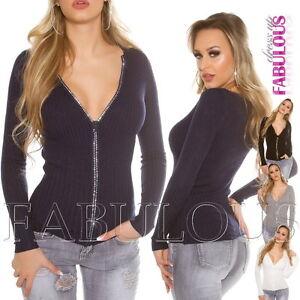 New-Sexy-Women-039-s-Diamante-Zip-Cardigan-Jumper-Jacket-Knit-Top-Size-6-8-10-XS-S-M