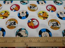 """2 yards Disney Mickey Mouse """"Character Badge""""  Fabric"""