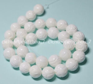 Natural-10mm-White-Carving-Coral-Gemstone-Round-Loose-Beads-15-034-Strand