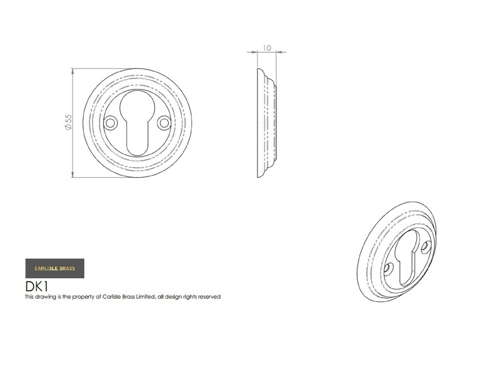 Carlisle Brass-DK1//3//CP//SC//SN//FB-Delamain Escutcheon-Chrome//Satin//Brass//Nickel