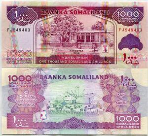SOMALILAND 1000 1,000 SHILLINGS 2014 2016 P 20 UNC