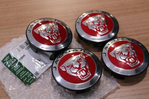Genuine Jaguar Growler Alloy Wheel Centre Caps Red x4 All Models  C2D47107  NEW