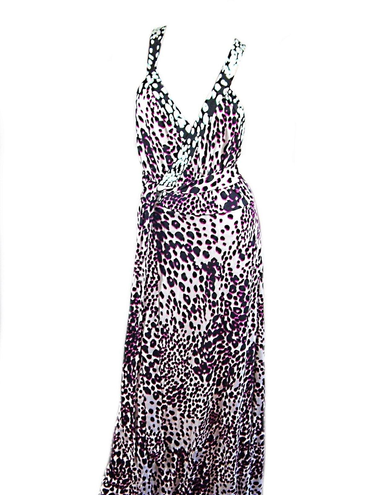 Diane von Furstenberg Furstenberg Furstenberg  Samson  Wrap Maxi Dress Leopard Rain Spots Combo Size 12 32e331