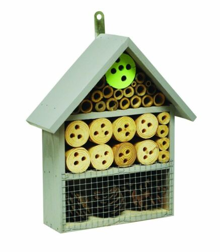 Wooden Insect Bug Hotel House Wood Garden Shelter Box Roof Coloured Natural