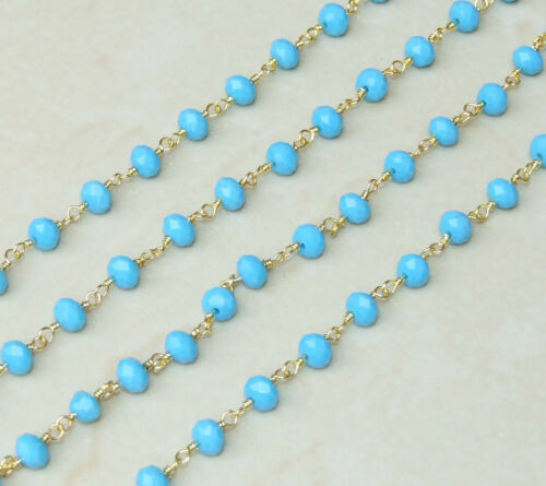 Turquoise Blue Rosary Chain 5mm x 6mm Gold Plated Wire Wrapped Rosary Chain