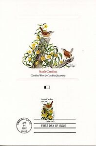 First Day Of Issue / Fdc / Oiseaux & Fleurs Des 50 Etats Des Usa South Carolina