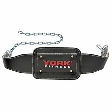 York Leather Dipping Belt Dip Weight Lifting Tricep Body Building with Chain
