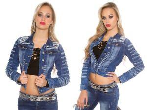 on sale 7d573 e699b Dettagli su giacca jeans donna giubbino corto denim jacket jeans strappi  used-look NUOVO