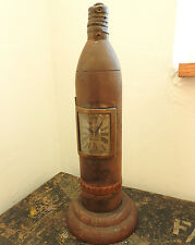 Military WWI Unusual Trench Art Clock With Wooden Base Depose (4710)