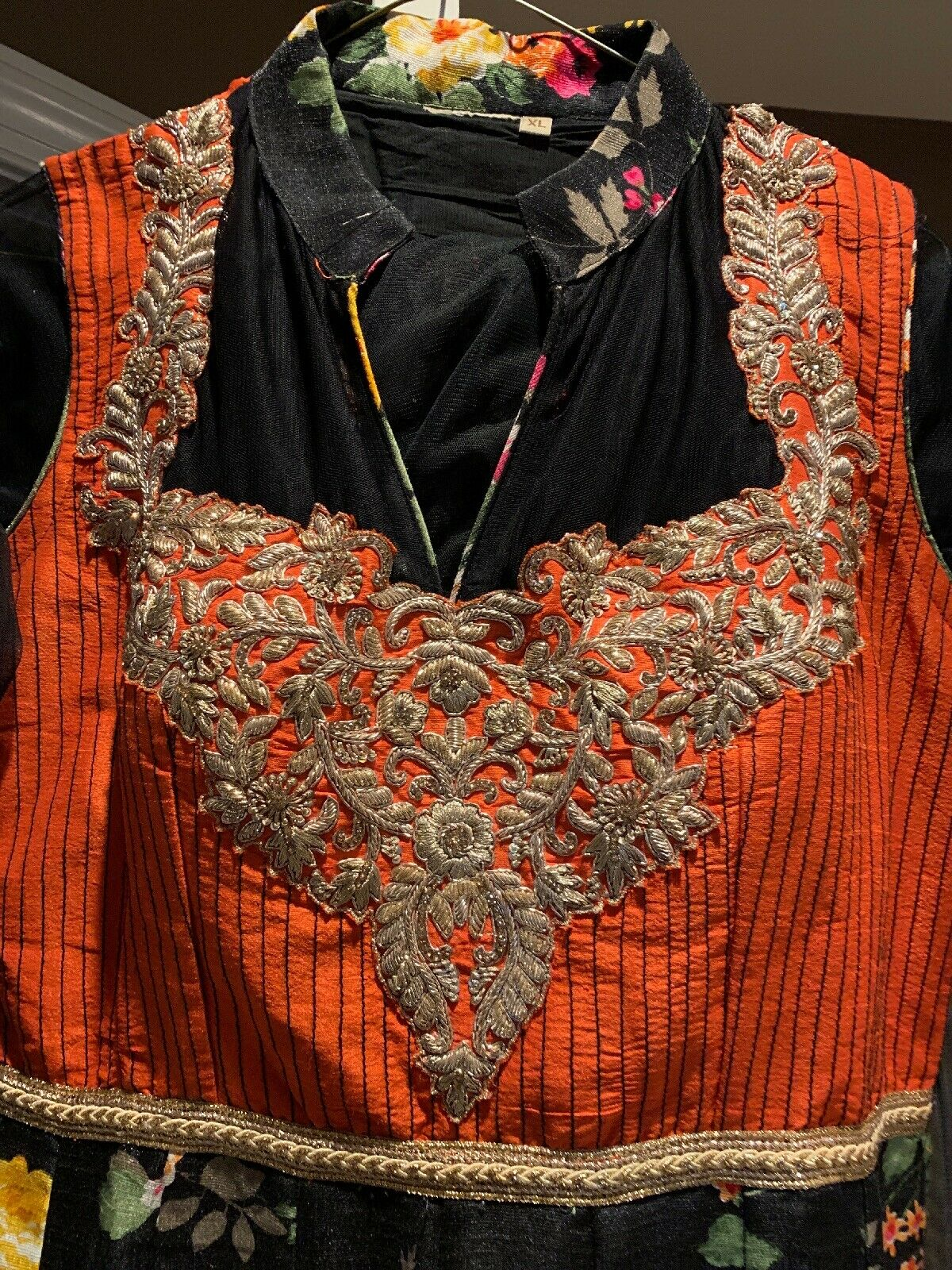 Beautiful indian party wear suit - Black And Oran… - image 5