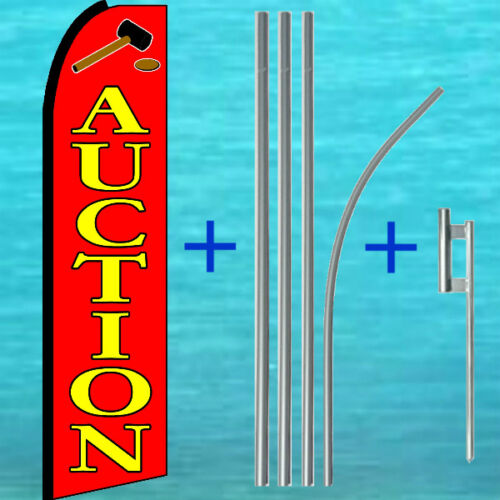 MOUNT Feather Swooper Banner Advertising Sign 15/' POLE AUCTION FLUTTER FLAG