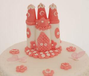 image is loading edible pink castle set birthday handmade sugarpast cake