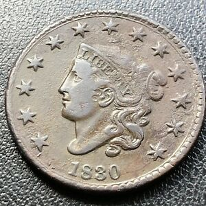 1830 Large Cent Coronet Head One Cent 1c Higher Grade XF + #17747