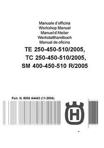 husqvarna motorcycle te tc tm 250 450 510 full service repair manual 2005