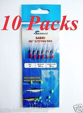 10 Packs Size #8 Sabiki Bait Rigs 6 RED Hooks Saltwater Fishing Lures - 496
