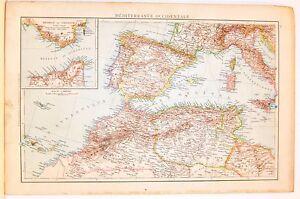Cartina Mediterraneo Occidentale.Carta Geografica Antica Mediterraneo Occidentale Italia 1880 Old Antique Map Ebay