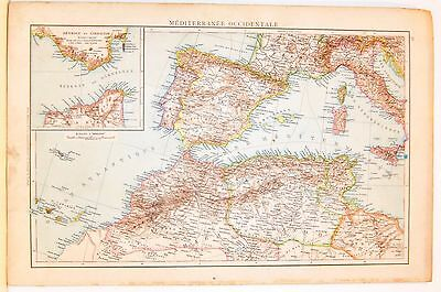 Cartina Geografica Mediterraneo Occidentale.Carta Geografica Antica Mediterraneo Occidentale Italia 1880 Old Antique Map Ebay