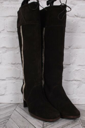 Uk Block High Heel Vinter 6 Brown Riding Zip Lær Suede 39 Topshop Knee Støvler F1a74q
