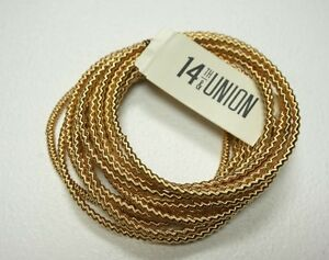NEW-14TH-AND-UNION-NORDSTROM-RACK-GOLD-TONE-MULTI-BANGLE-STRETCHY-CHAIN-BRACELET