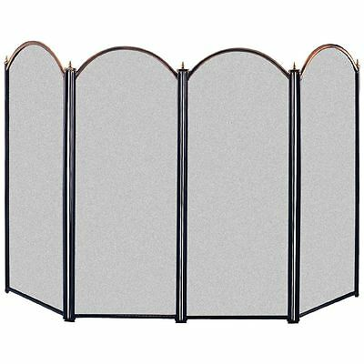 Fire Screen Guard Brass Black 4 Panel Fireplace Fireside Safety By Home Discount