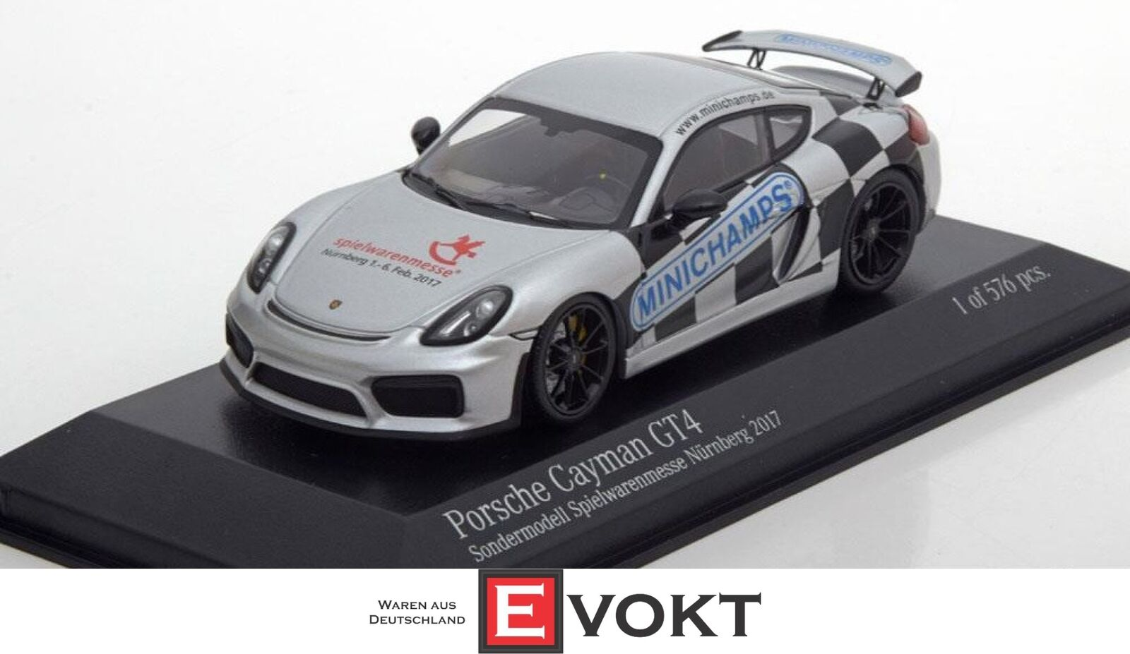 Minichamps 413066193 Porsche Cayman GT4 Toy Fair 2017