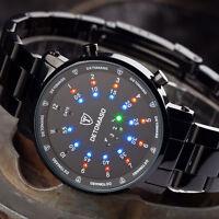 Detomaso Spacy Timeline Wrist Watch Binary Led Display Stainless Steel Black
