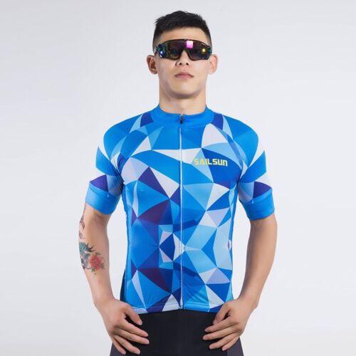 Men Cycling Jersey Bike Short Sleeve Clothing Bicycle Sports Shirt Irregularblue