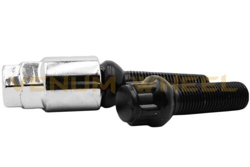 4 Pc Mercedes Benz M14x1.5 Ball Seat Wheel Locks 28 MM OEM Shank Key Fits W204