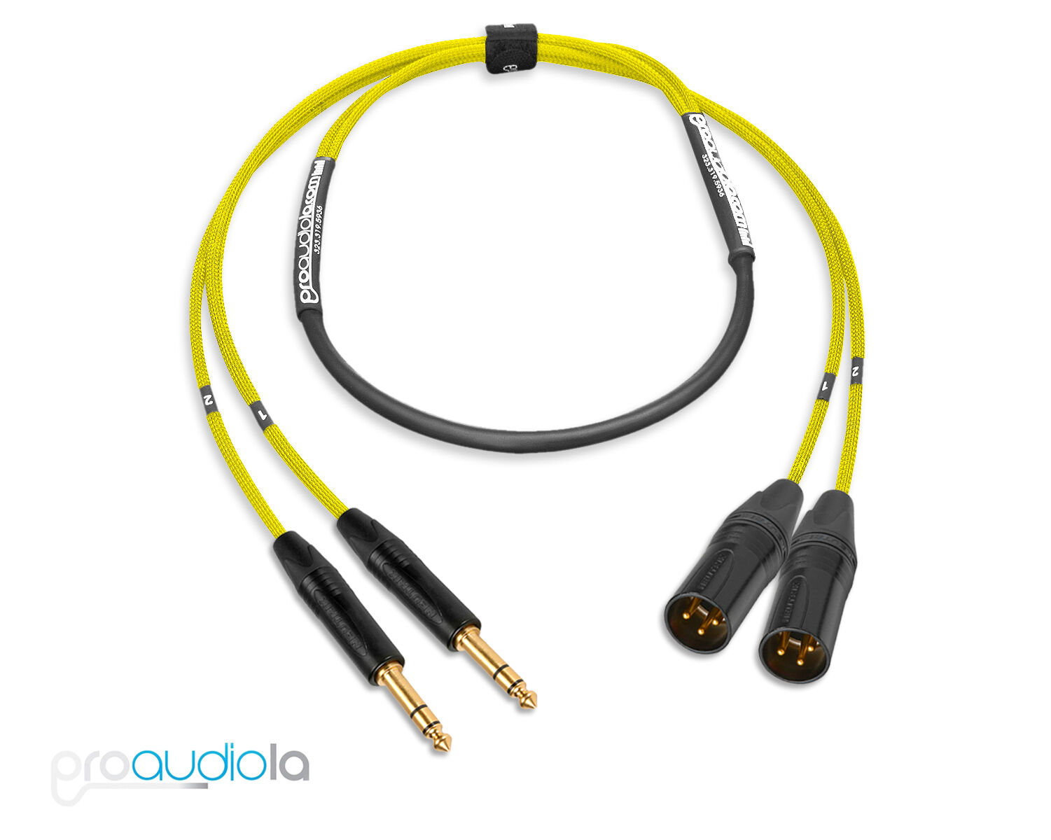 Premium 2 Channel Mogami 2930 Snake   Neutrik Gold TRS to XLR Male   Gelb 50'