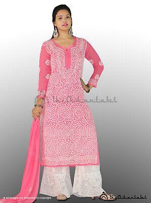 Thechikanlabel Georgette Red Gota Patti Kurti Chikankari Embroidery Kurta