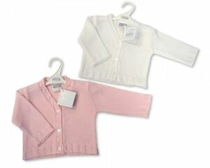 5d0c293df Baby Girls Cardigan Knitted Cable Knit Trim V Neck Button NB 24 ...