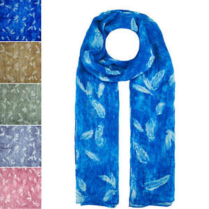 Fashion Faded Feather Print Silk Scarf Wrap Chiffon Large Soft Light Finecy In