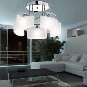 Chrom-Glas-Luster-Decken-Lampe-Leuchte-Beleuchtung-Wohn-Schlaf-Ess-Zimmer-Diele