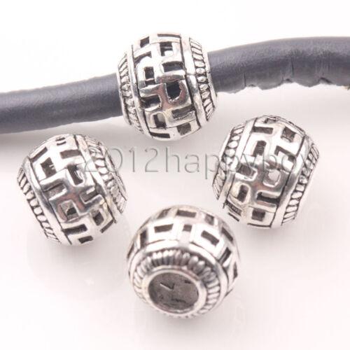 10X Grande Agujero Huecos Floral Redondo Plata Tibetana suelto espaciador perlas 10mm hágalo usted mismo
