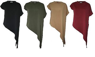 Ladies Short Sleeves Polo Neck Top Womens Asymmetric Hem Side Slant Jumper Dress