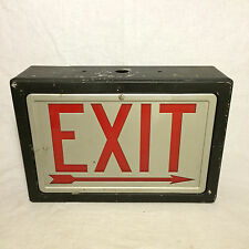 Vintage Lighted Metal Industrial Exit Sign Black Painted Body Glass Red Letters