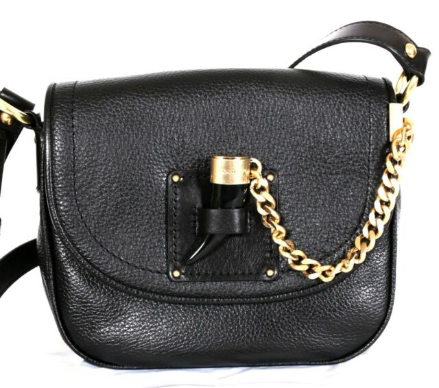 ace3e3717d13 Michael Kors James Black Leather MD Saddle Crossbody Shoulder Bag ...