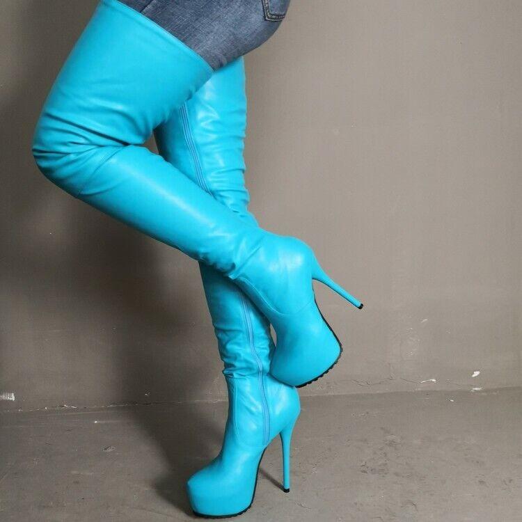 Modekvinnor Stiletto höga höga höga stövlar Platform High klackar skor Stor storlek  rabatt lågt pris