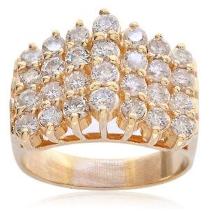 2c79146750afa 1.50 Carat Round Cut Prong Setting Diamond Cluster Pyramid Ring 14K ...
