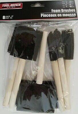 """FOAM PAINT BRUSHES  8 Brush Set 3/"""" 2/"""" Sizes: 1/"""" 4/"""" Painters Hobbyists"""