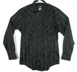 Wrangler-Black-Silver-Long-Sleeve-Metallic-Pearl-Snap-Western-Shirt-Mens-Sz-M
