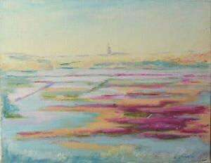 Peinture-huile-sur-toile-Paysage-de-Josette-Zenatti-1930-2008-FLEURS-MARAIS