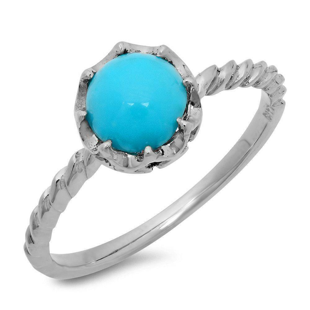 Certified 1.50cttw Turquoise 14KT White gold Ring