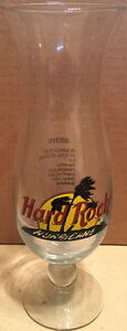 Hard-Rock-Cafe-NO-CITY-9-034-Hurricane-Glass-w-HRC-Logo-Palm-Trees-amp-DRINK-RECIPE