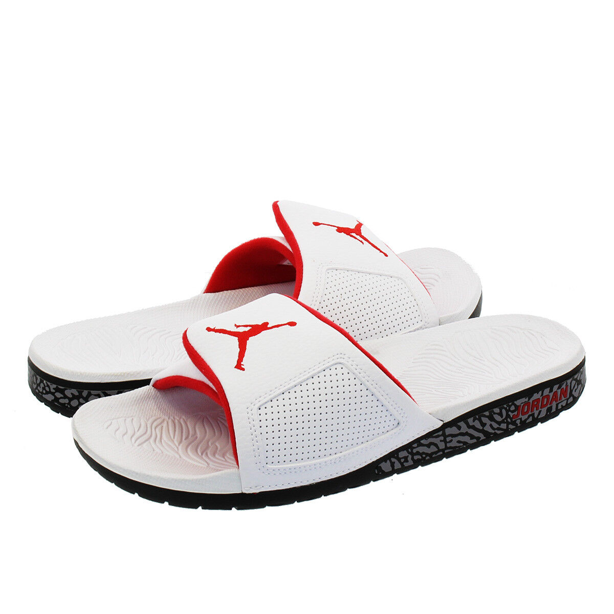 Nike Air Jordan Hydro III 3 Retro White Red Black Slides SZ 10 ( 854556-103 )