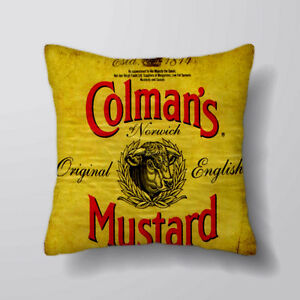 Colmans Mustard Lumbar Long Cushion Covers Pillow Cases Home Decor or Inner