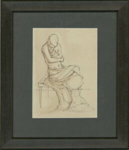 Framed Contemporary Pen and Ink Drawing - Mother & Child