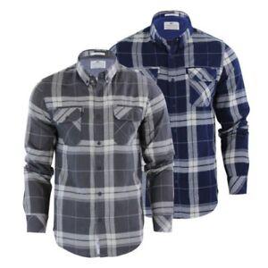 Hommes-Carreaux-Chemise-Crosshatch-Mitty-Coton-Col-Long-Manche-Haut-Decontracte